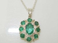 Beautiful Sterling Silver Emerald Pendant Necklace