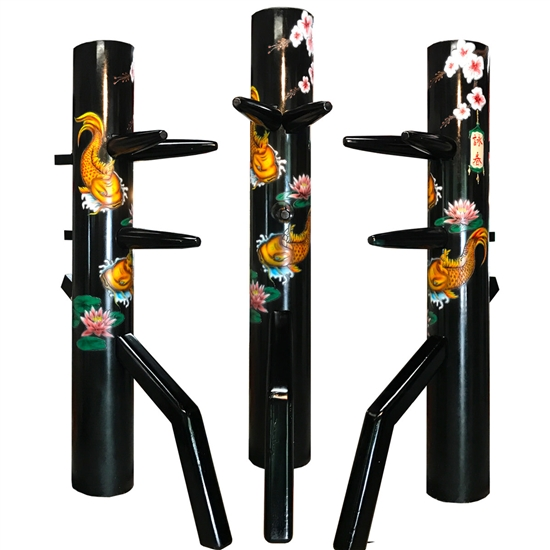 Wooden Dummy - 13th Anniversary Dummy features a Koi Fish, Lotus, and Cherry blossom engraving.