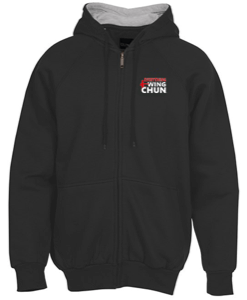 Thermal-Lined Full-Zip Sweatshirt Hoodie - Embroidered Red Logo