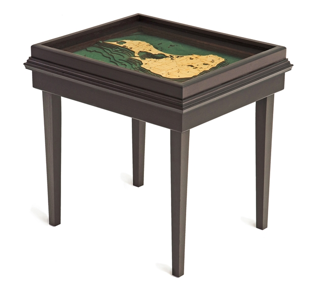 Block Island 3D Nautical Woodchart End Table