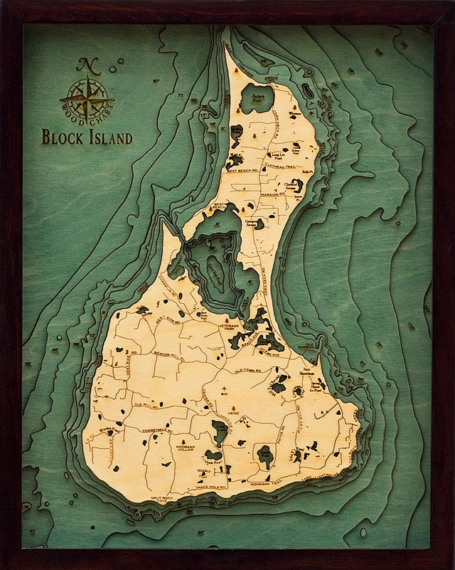 3D Block Island Nautical Real Wood Map Depth Decorative Chart