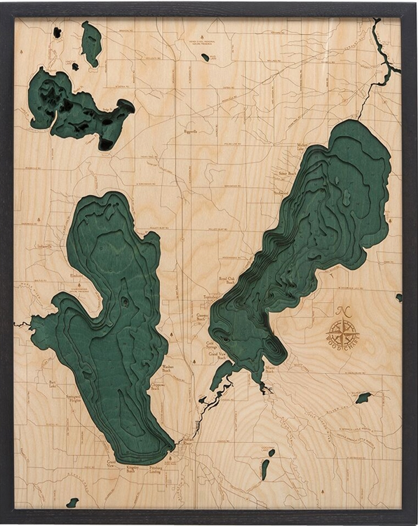 3D Burt and Mullett Lakes Nautical Real Wood Map Depth Decorative Chart