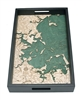Boston Harbor Nautical Real Wood Map Decorative Serving Tray