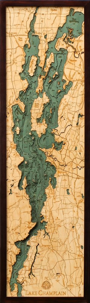 Lake Champlain Nautical Topographic Art: Bathymetric Real Wood Decorative Chart