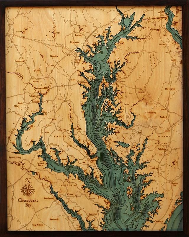 Woodchart 3d Chesapeake Bay Nautical Wood Map Depth Chart
