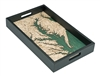 Chesapeake Bay Nautical Real Wood Map Decorative Serving Tray