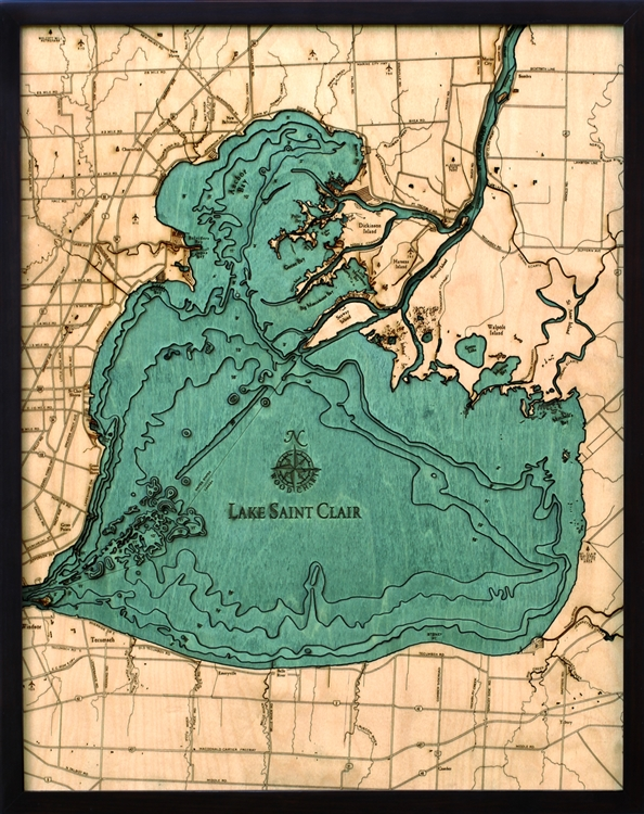 Lake St. Clair Nautical Topographic Art: Bathymetric Real Wood Decorative Chart