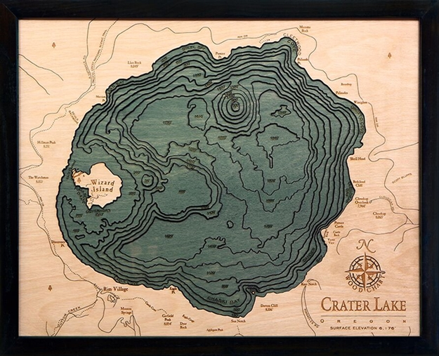 Crater Lake Nautical Topographic Art: Bathymetric Real Wood Decorative Chart