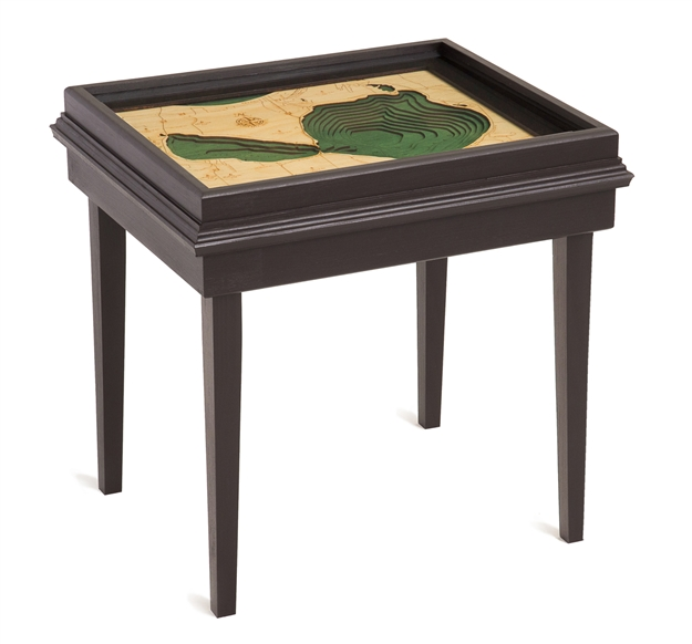 Glen Lake 3D Nautical Woodchart End Table
