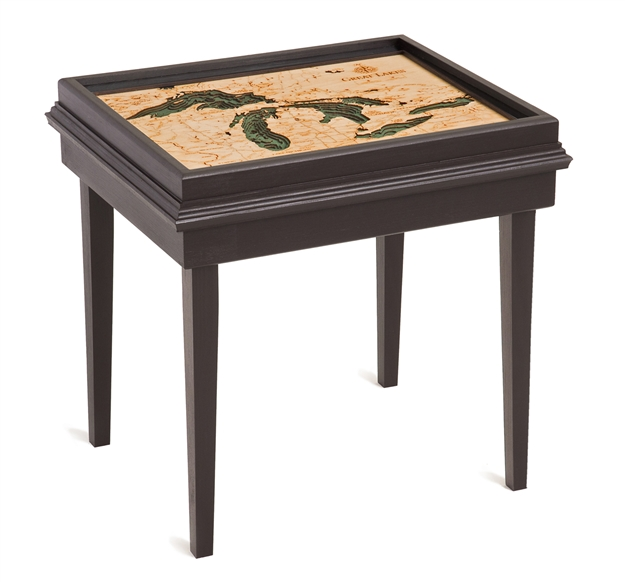 Great Lakes 3D Nautical Woodchart End Table