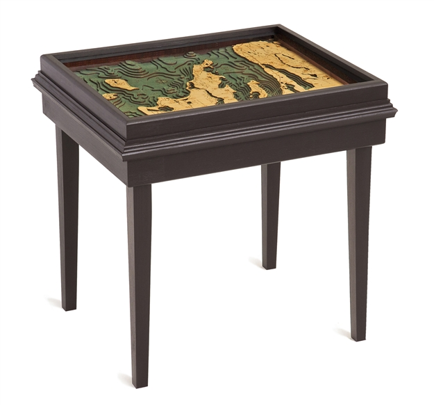 Grand Traverse Bay 3D Nautical Woodchart End Table