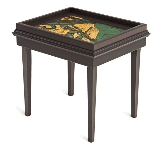 Hilton Head 3D Nautical Woodchart End Table