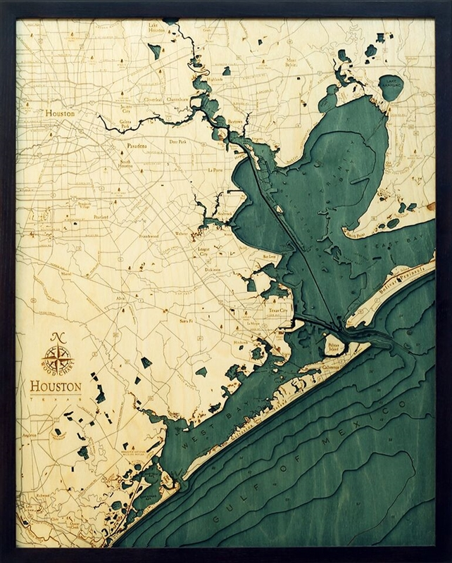 buy topographical wood map of houston and gulf of mexico