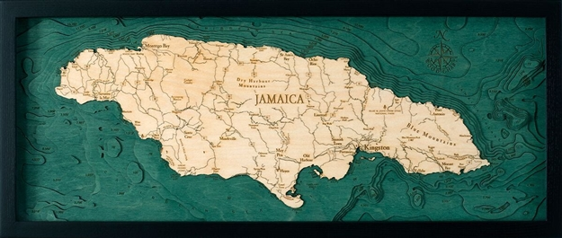 Jamaica Nautical Topographic Art: Bathymetric Real Wood Decorative Chart