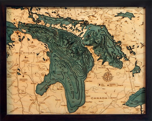 Lake Huron 3-D Nautical Wood Chart 16 X 20 coastline