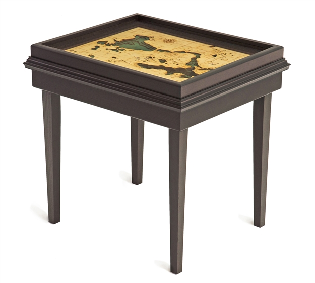 Lake Okoboji 3D Nautical Woodchart End Table