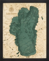 Lake Tahoe Nautical Topographic Art: Bathymetric Real Wood Decorative Chart