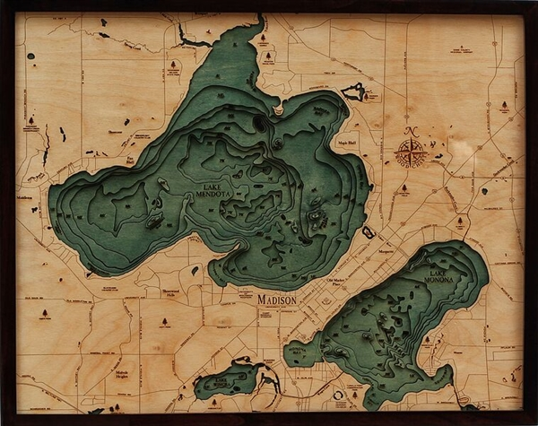 3D Mendota and Monona Nautical Real Wood Map Depth Decorative Chart