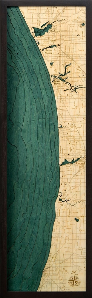 3D Muskegon to South haven Nautical Real Wood Map Depth Decorative Chart