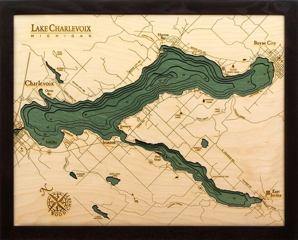 Lake Charlevoix Michigan 3 D Nautical Wood Chart 16X20