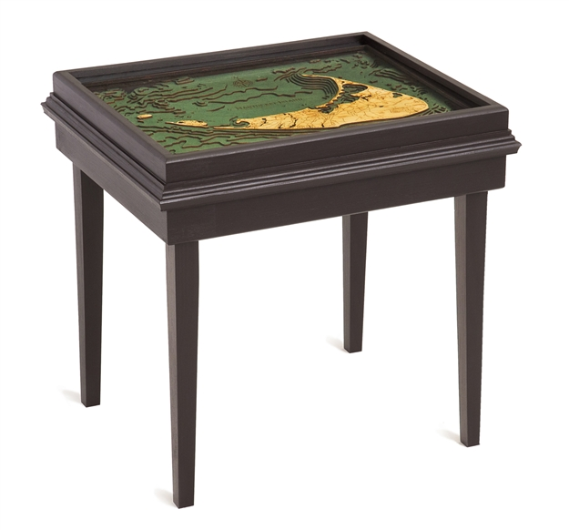 Nantucket 3D Nautical Woodchart End Table