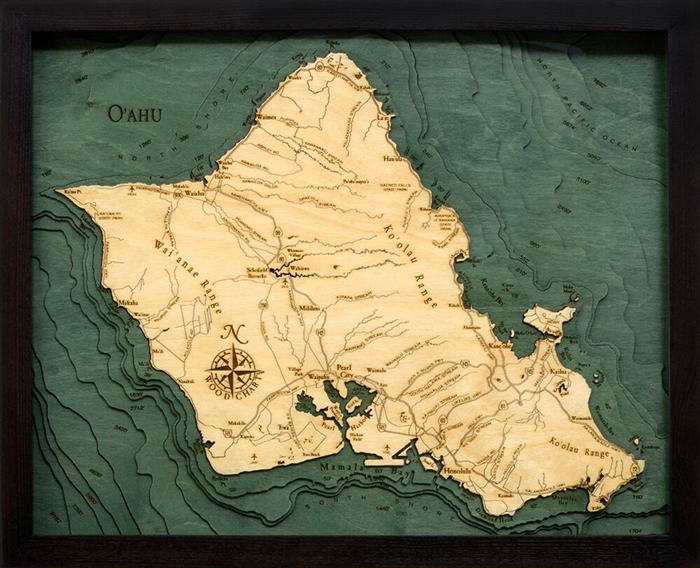 3D Island of Oahu Nautical Real Wood Map Depth Decorative Chart