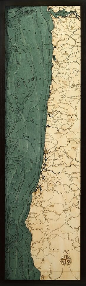 Oregon Coast Nautical Topographic Art: Bathymetric Real Wood Decorative Chart