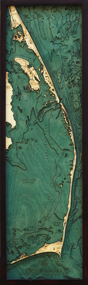 3D Outer Banks Nautical Real Wood Map Depth Decorative Chart