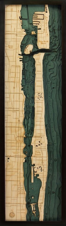 Palm Beach Nautical Topographic Art: Bathymetric Real Wood Decorative Chart