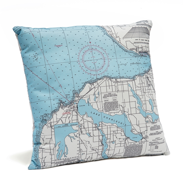 Little Traverse Bay Indoor Outdoor Nautical Pillow Map