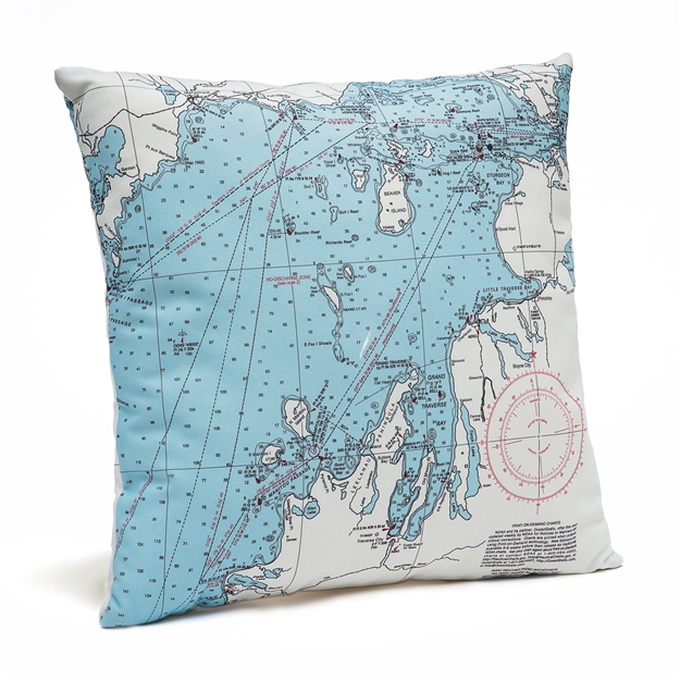 Northwest Michigan Indoor Outdoor Nautical Pillow Map