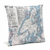 Puget Sound Indoor Outdoor Nautical Pillow Map
