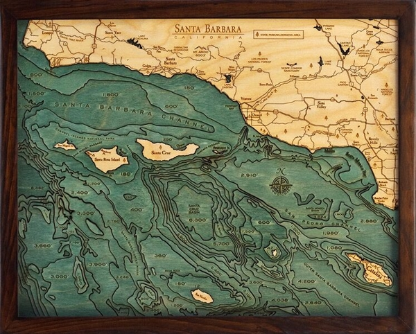 3D Santa Barbara and the Channel Islands 3D Nautical Real Wood Map Depth Decorative Chart