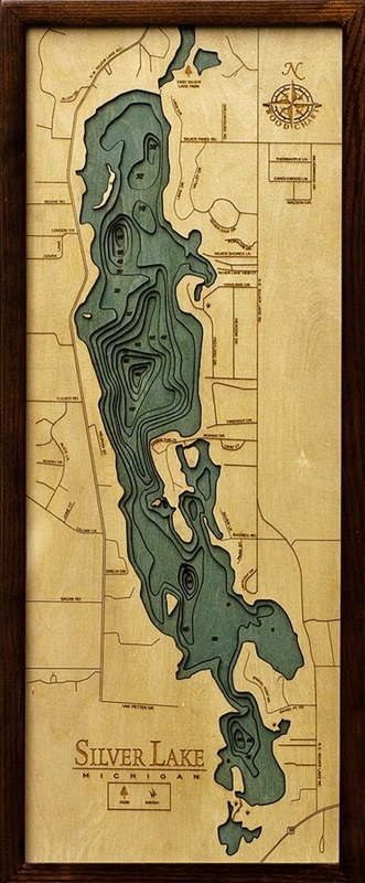 Silver Lake Nautical Topographic Art: Bathymetric Real Wood Decorative Chart