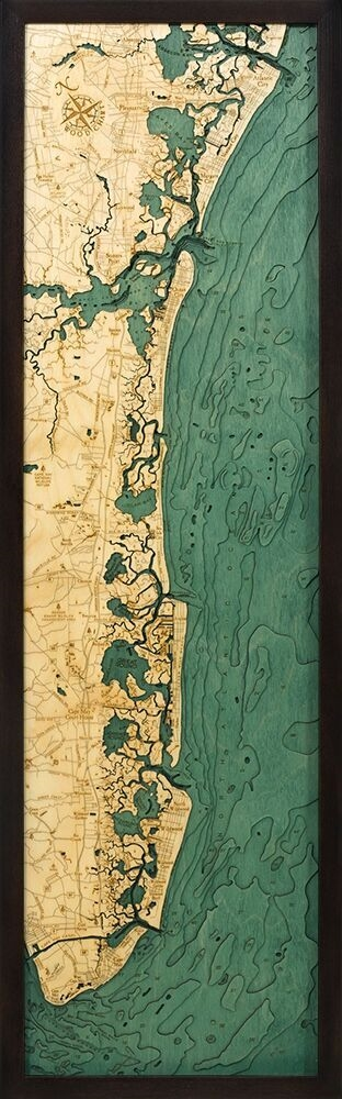 New Jersey South Shore  Nautical Topographic Art: Bathymetric Real Wood Decorative Chart