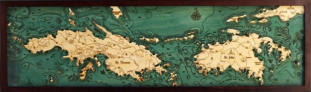 3D Virgin Islands Nautical Real Wood Map Depth Decorative Chart