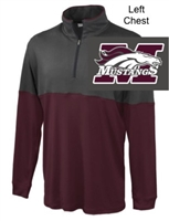 Carbon and Maroon Polyester 1/4 Zipper Pullover (Adult)