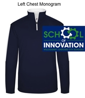 Navy and White Polyester 1/4 Zipper Pullover (Adult)