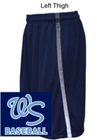 Navy with Stripe Performance Shorts with Pockets  (Adult and Youth)