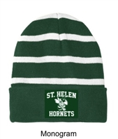 Hunter Green and White Winter Hat  (One Size)