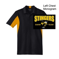 Black and Gold Polyester Tricot Polo (Adult and Ladies)