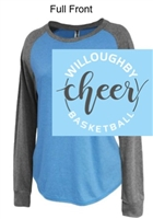 Ocean Blue and Grey Cotton Polyester Raglan Crewneck (Ladies)