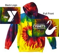 Rainbow Tie-Dye Pullover Hoodie (Adult and Youth)