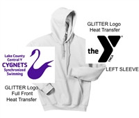 White Hooded Sweatshirt (Adult and Youth) GLITTER Heat Transfer