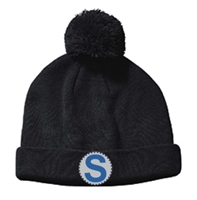 Black Knit Pom Beanie Hat (Adult)