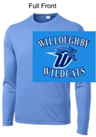 Columbia Blue Long Sleeve Performance T-Shirt (Adult and Youth)