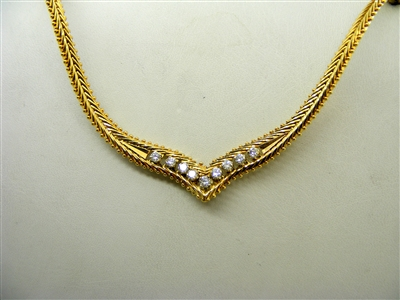 """V"" Shaped 14k Yellow Gold Flat Pop Corn Diamond Necklace"