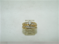 14k yellow gold two piece set engagement ring