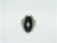 Art Deco diamond onyx ring