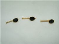 14k yellow gold onyx 3 set shirt stud